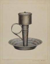 Portable Whale Oil Lamp, c. 1938. Creator: James M. Lawson.