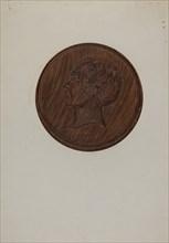 Wooden Medallion, c. 1936. Creator: Florence Huston.