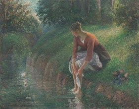 Woman Bathing Her Feet in a Brook, 1894/95. Creator: Camille Pissarro.