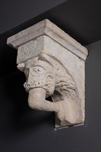 Corbel with Animal Mask with Teeth Fastened on Human Leg from the Monastery Church of... Creator: Unknown.