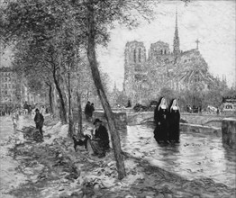 Notre Dame de Paris, 1890/95. Creator: Jean Francois Raffaelli.