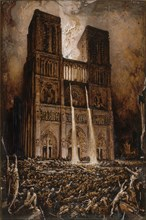 Attack on Notre-Dame. The Hunchback of Notre-Dame by Victor Hugo, ca 1877. Creator: Chifflart, François (1825-1901).