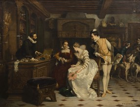 Jeanne d'Albret Buying Poisoned Gloves from Catherine de Medici's Parfumeur..., 1852-1858. Creator: Comte, Pierre Charles (1823-1895).