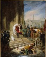 Quasimodo saves Esmeralda from the executioners, 1832. Creator: Henry (Latil), Eugénie (1808-1879).
