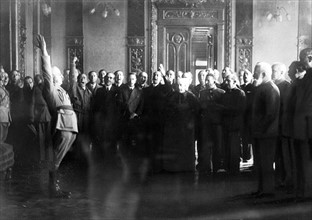 Franco taking the oath in Burgos, 1936