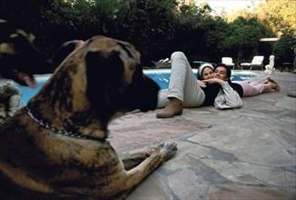 Alain et Nathalie Delon à Los Angeles