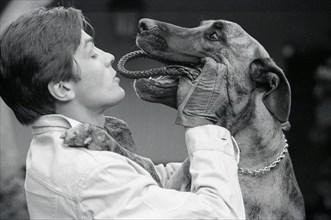 Alain Delon jouant avec son chien