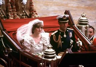 Le Prince Charles et Diana le jour de leur mariage, en 1981