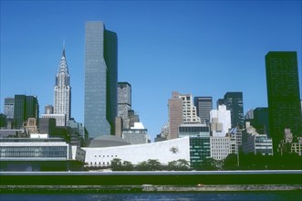 View of the United Nations Headquarters and the Chrysler Building