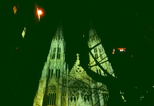 Night view, St. Patrick's Cathedral in Manhattan