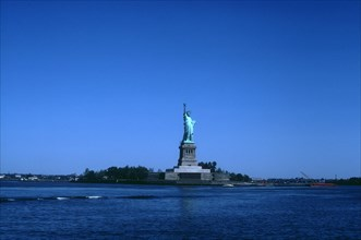 View of Liberty Island and the Statue of Liberty