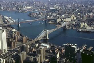 Aerial view of Manhattan Bridge and Brooklyn Bridge