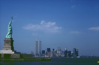 View of Liberty Island, the Statue of Liberty and the World Trade Center