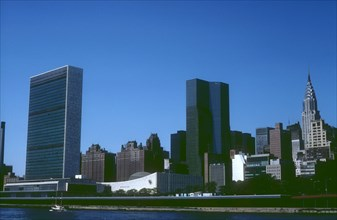 View of the United Nations Headquarters and the Chrysler Building, Manhattan