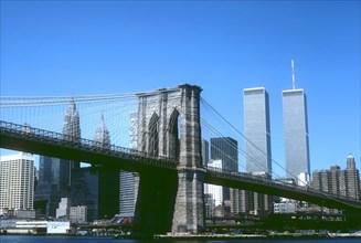 View of Brooklyn Bridge and the World Trade Center, Manhattan