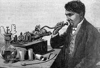 Thomas Edison et son phonographe