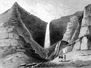 Napoléon devant la cascade de Briars à Sainte Hélène