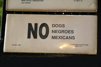 Afroamerican Music Fest, Segregated no dogs negroes mexicans Sign, Hart Plaza, Detroit Michigan USA