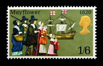 Postage stamp. Great Britain. Queen Elizabeth II. Anniversaries. 1970. Pilgrims and Mayflower, 1620. 1/6.