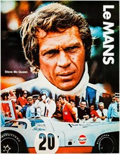 Steve McQueen as Michael Delaney in Gulf Team Porsche 917. Gulf Promotional poster tie-in with the film 'Le Mans' (1971) directed by Lee H. Katzin and starring Steve McQueen, Siegfried Rauch and E...