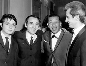 Singers Marcel Amont, Henri Salvador et Charles Aznavour, 1965