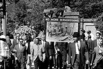 Congress of Racial Equality conducts march in memory of Negro youngsters killed in Birmingham bombings, All Souls Church, 16th Street, Washington, D.C. September 23, 1963 Photograph by Thomas J. O'Hal...