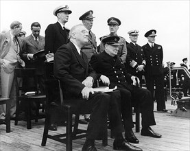 ATLANTIC CHARTER  Presidert Roosevelt and Winston Churchill on HMS Prince of Wales 12 August 1941 - see Description below