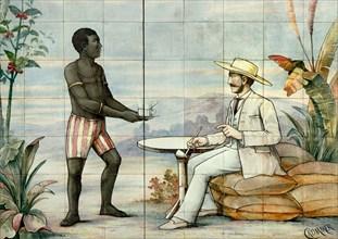 Paris, France. Rue Montorgueil - old tiled sign. Plantation owner and black worker / slave?
