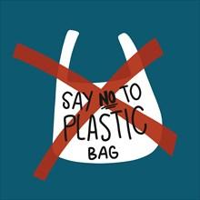 Say no to plastic bag vector illustration environment concept