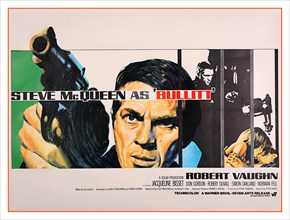 """Vintage UK film movie poster for the Steve McQueen movie """"Bullitt"""" (1968).Bullitt is a 1968 American action thriller film directed by Peter Yates and produced by Philip D'Antoni. The picture stars Ste..."""