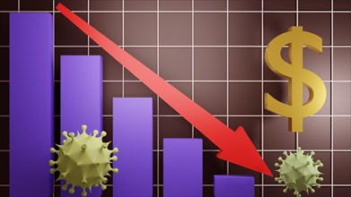 The impact of Novel coronavirus or Covid-19 on the global economy. 3D rendered illustration.