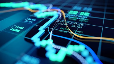 close up shot of a digital stock market tracking graph follwing a recent crash in prices. Bear market 3D illustration