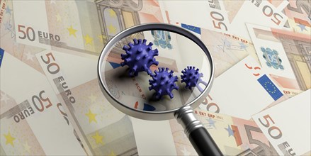 Coronavirus COVID 19 global economy finance crisis concept. Medical magnifying glass on virus strains, euro banknotes background. Covid19 research mon
