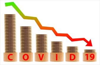 business graph in crisis with money decreasing value. Coronavirus or Covid 19 virus concept