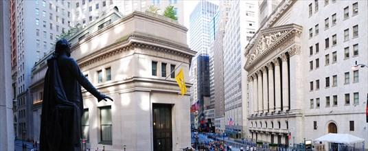 Wall Street New York Stock Exchange panorama in Manhattan, New York City.