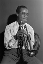 The jazz musician Louis Armstrong at the Aquarium Club, New York City, NY, c. 1946. Photo by William P Gottlieb