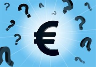Euro, Question mark, 3D illustration