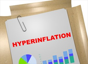 """3D illustration of """"HYPERINFLATION"""" title on business document"""