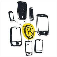 Vector abstract illustration bitcoin technology
