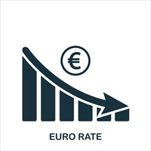 Euro Rate Decrease Graphic icon. Mobile app, printing, web site icon. Simple element sing. Monochrome Euro Rate Decrease Graphic icon illustration.