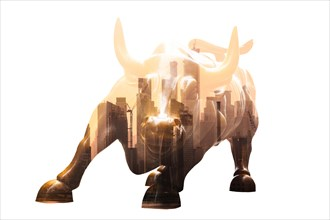 Charging Bull in Lower Manhattan. Corporate business, finance, stock market and economic prosperity conceptul collage