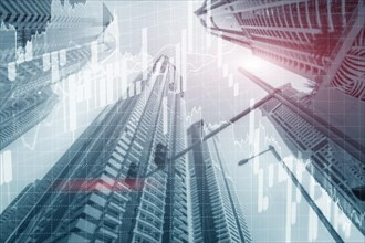 Dubai Universal finance abstract background Economic Trading growth graph chart on futuristic city. Double exposure.