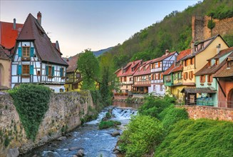 medieval town cityscape of kaysersberg in alsace, france