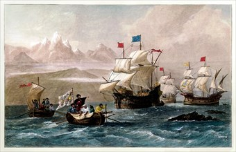 Discovery of the Strait of Magellan 1520 by the Spanish expedition to the East Indies lead by Ferdinand Magellan from 1519 to 1522 during his global circumnavigation voyage. Hand coloured engraving pu...