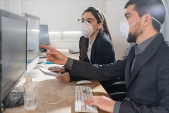 Coronavirus Office workers with mask for corona virus. Business workers wear masks to protect and take care of their health.