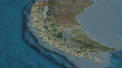 Zoom in on Magallanes y Antártica Chilena (region of Chile) outlined. Oblique perspective. Satellite imagery. 3D rendering