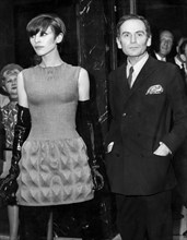 pierre cardin with model marie, presentation of the first dresses made in france made with the new synthetic fiber material called cardine, 1968