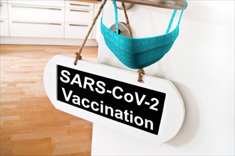 Covid 19 Vaccination Room Sign with Door and Mask