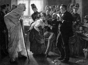 LOUIS PASTEUR supervising a rabies vaccination at his Paris clinic in 1886