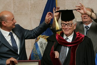 June 7, 2011. Moscow,Russia. Famous French fashion designer Pierre Cardin became professor of Moscow Design University.